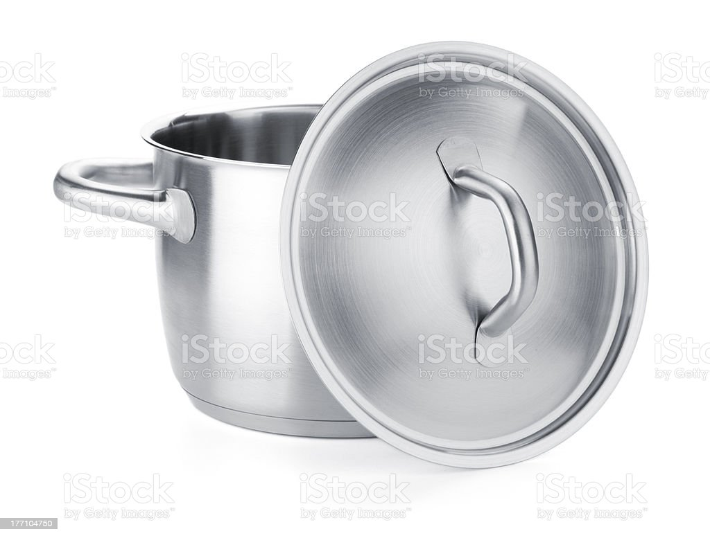 Opened stainless steel pot stock photo