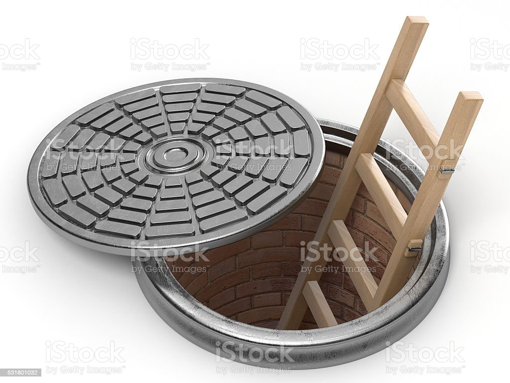 Opened street manhole with wooden ladder inside. 3D stock photo