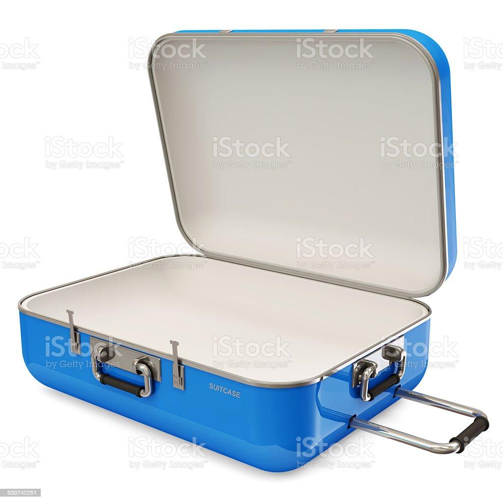 Opened Suitcase isolated on white background stock photo