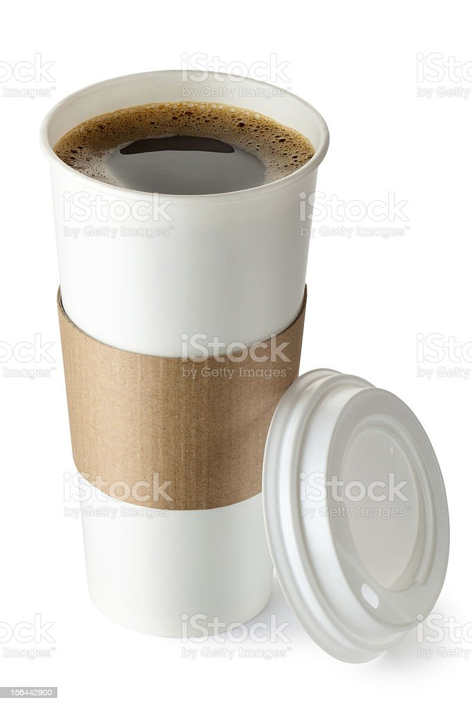 Opened take-out coffee with cup holder royalty-free stock photo