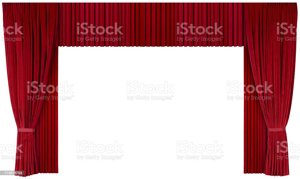 Opened Theater Curtains (isolated with clipping path over white background) royalty-free stock photo