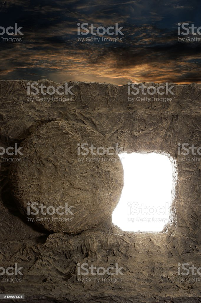 Opened Tomb of Jesus stock photo