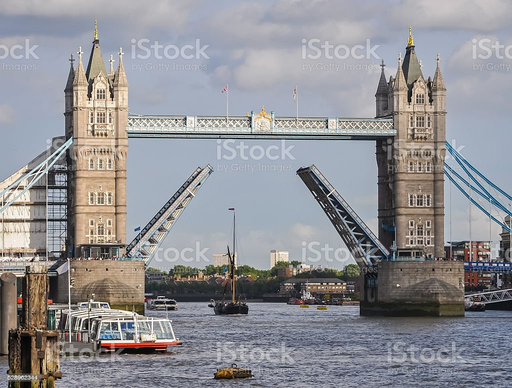Opened Tower Bridge in London stock photo