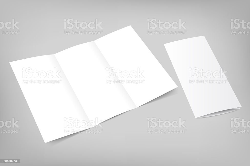 Opened trifold flyer, blank template for portfolio stock photo