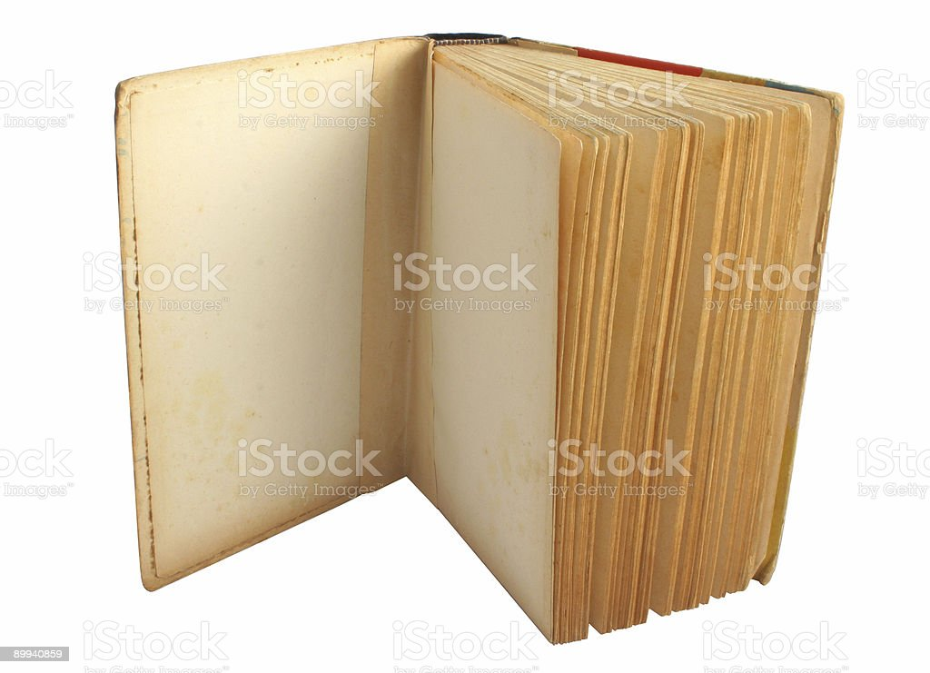 opened vintage book - pure white background royalty-free stock photo