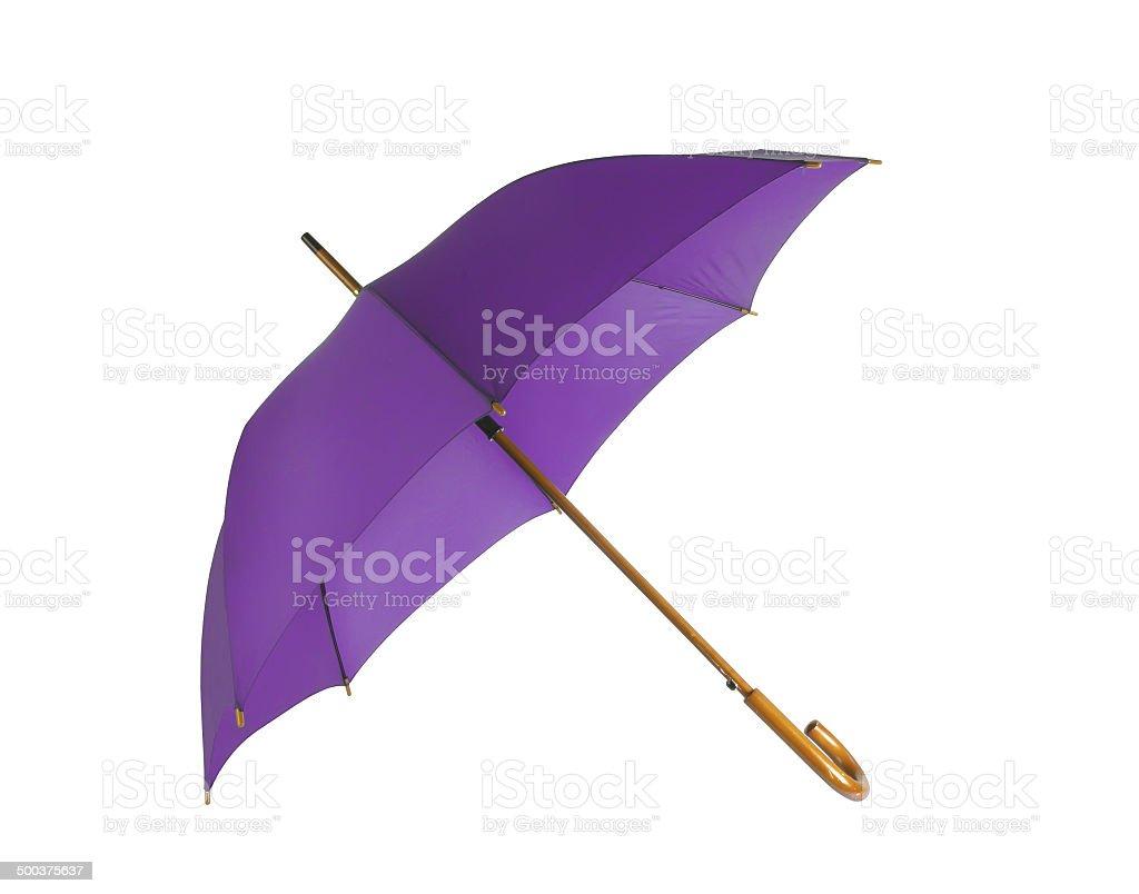 Opened violet umbrella isolated on white background stock photo