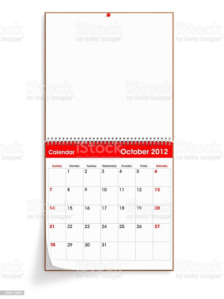 Opened Wall Calendar - October 2012 stock photo