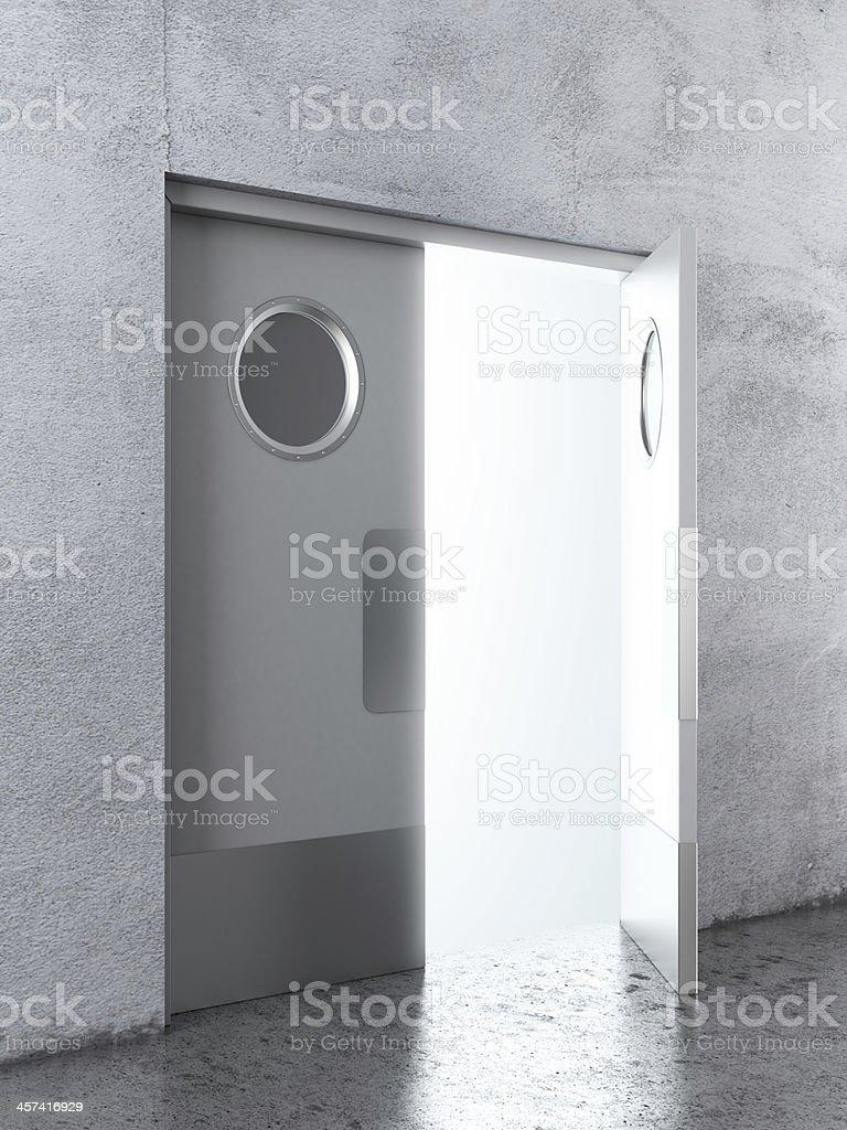 Opened White swing door stock photo