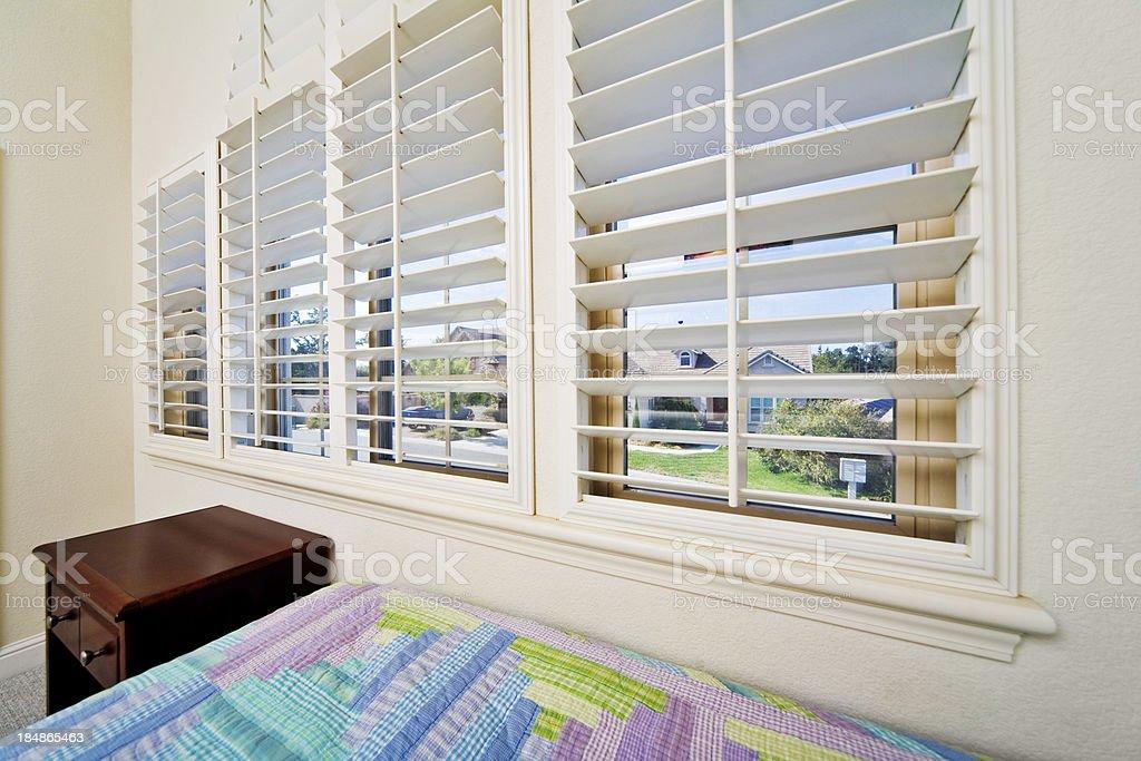 Opened Window Blinds stock photo