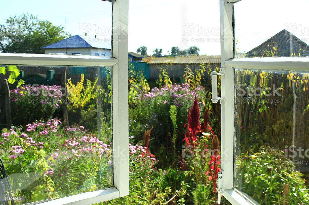 opened window to the summer garden in the village stock photo