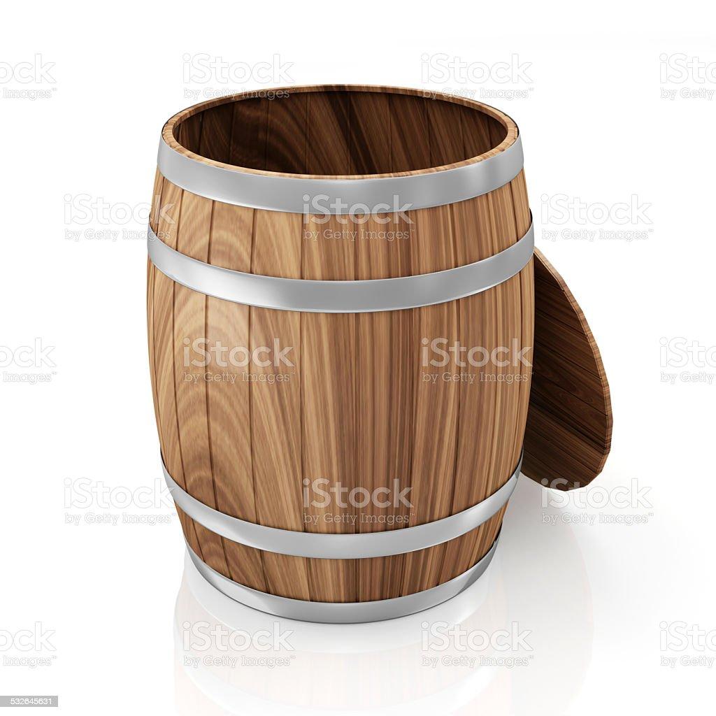 Opened Wooden Barrel isolated on white background stock photo