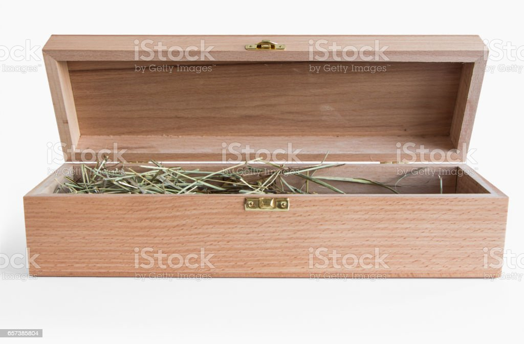 Opened wooden gift box for wine isolated on white background stock photo