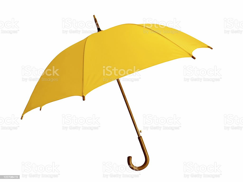 Opened yellow umbrella with brown handle on white background stock photo