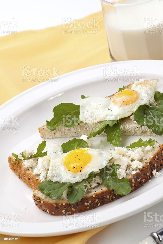 Open-Faced Sandwich with Fried Egg stock photo