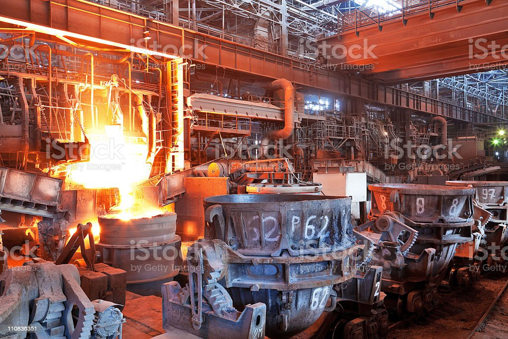 Open-hearth workshop of metallurgical plant stock photo
