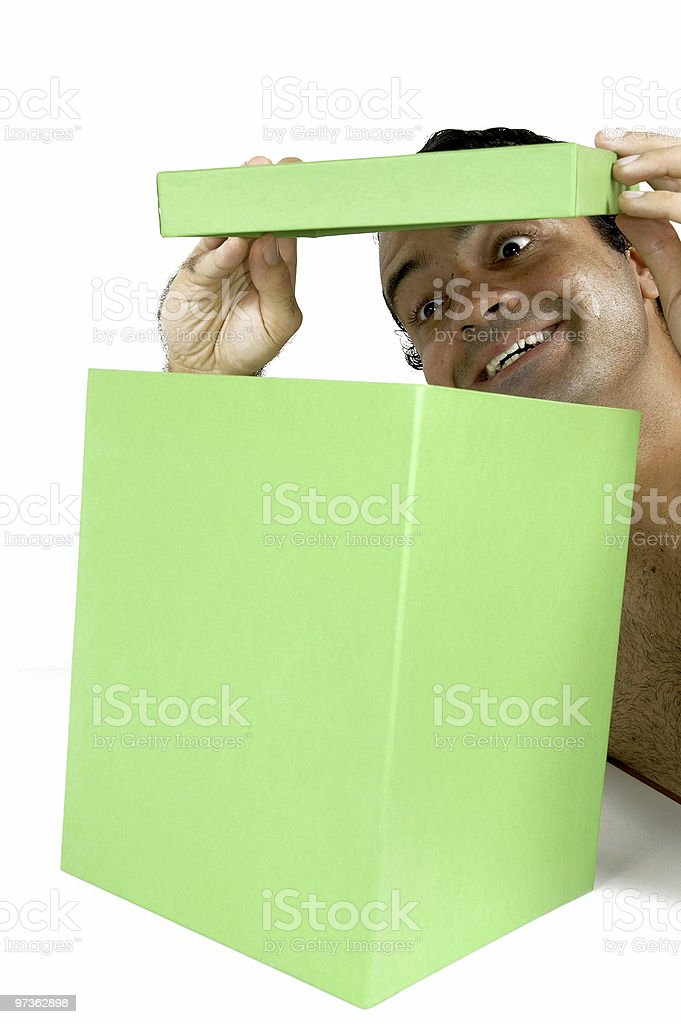 Opening a Box royalty-free stock photo