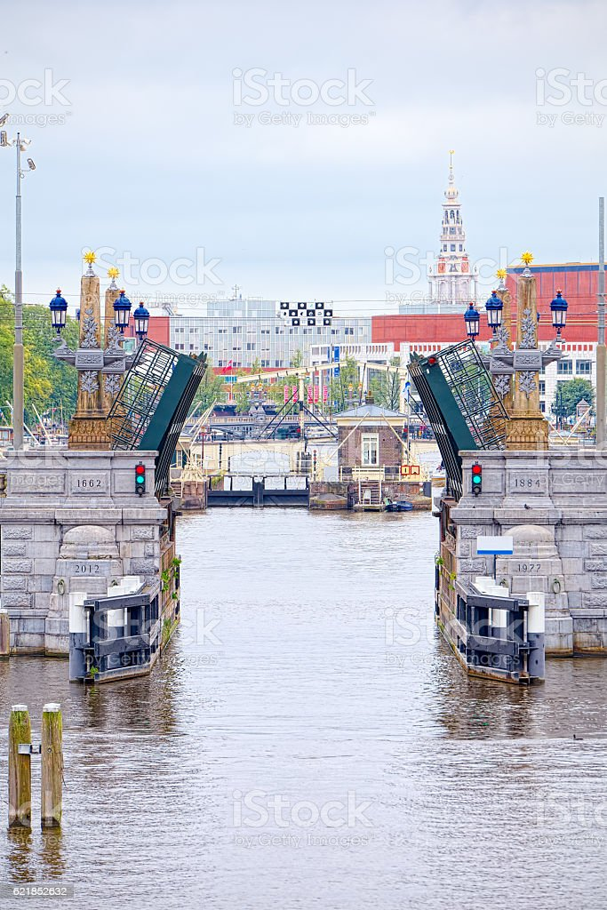 Opening a drawbridge over the Amstel in Amsterdam stock photo