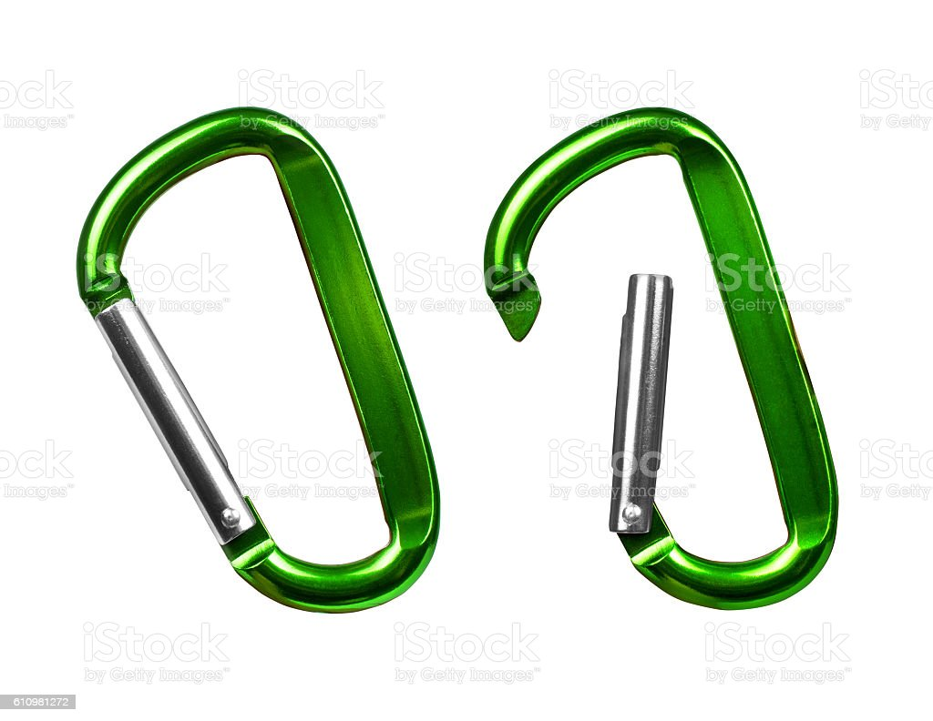Opening and closing carabiner for mountaineering isolated on whi stock photo