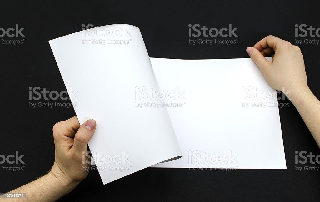 Opening blank brochure royalty-free stock photo