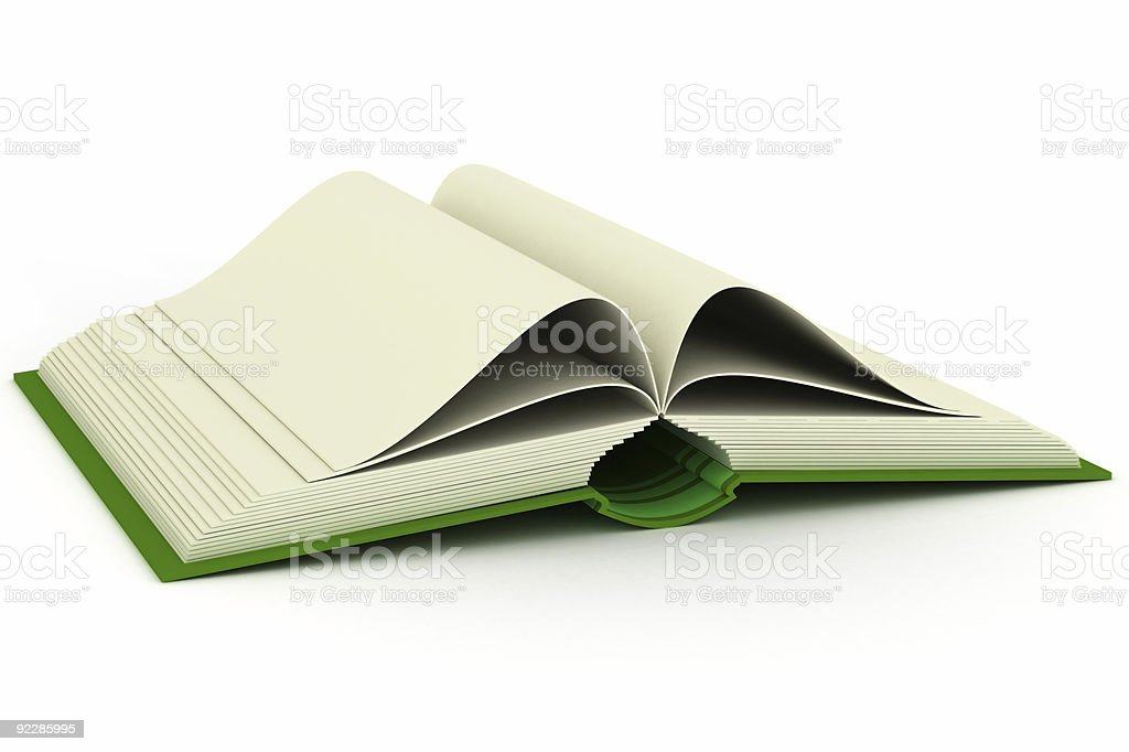Opening book on a white background. 3D image royalty-free stock vector art