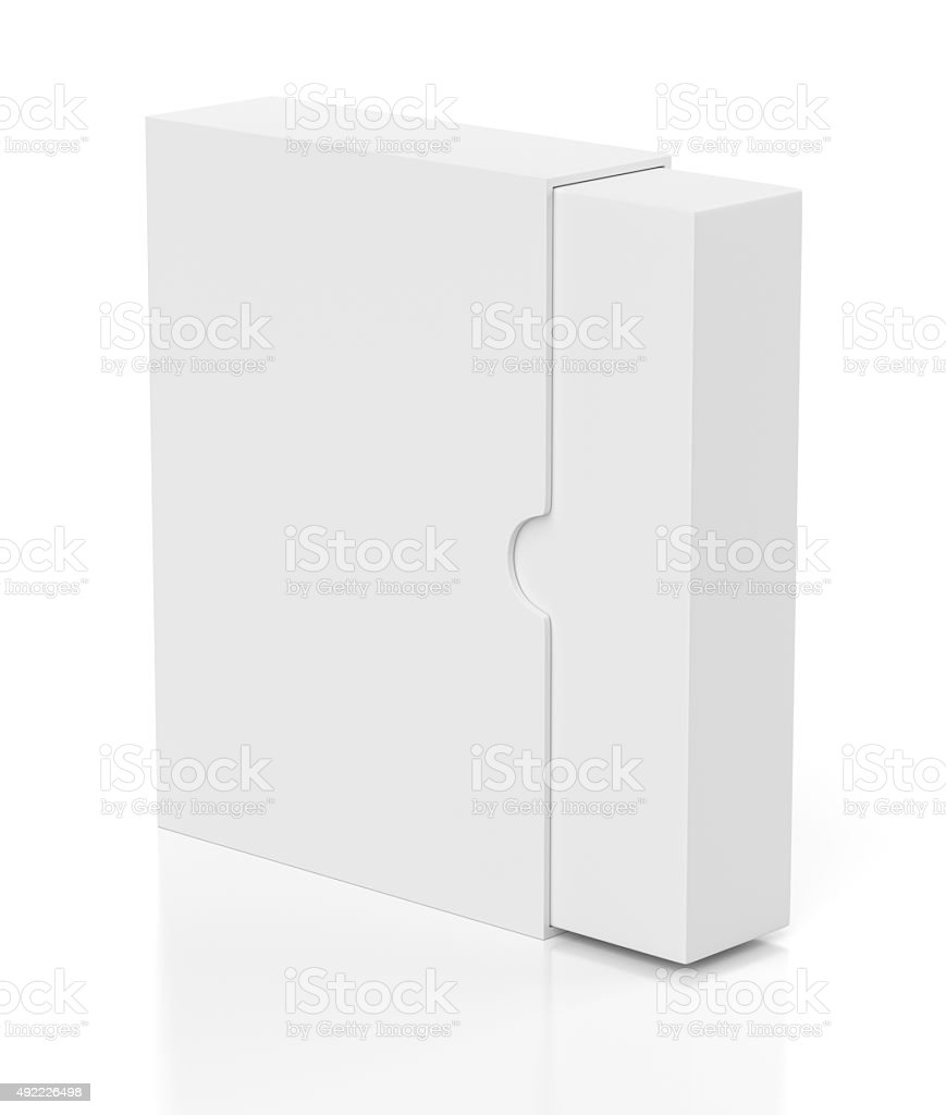 Opening box with slide cover isolated on white stock photo