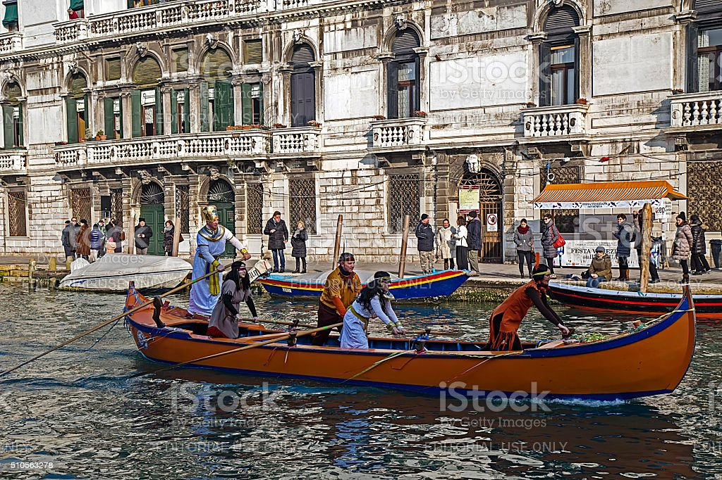 Opening Carnival procession at Venice, Italy stock photo