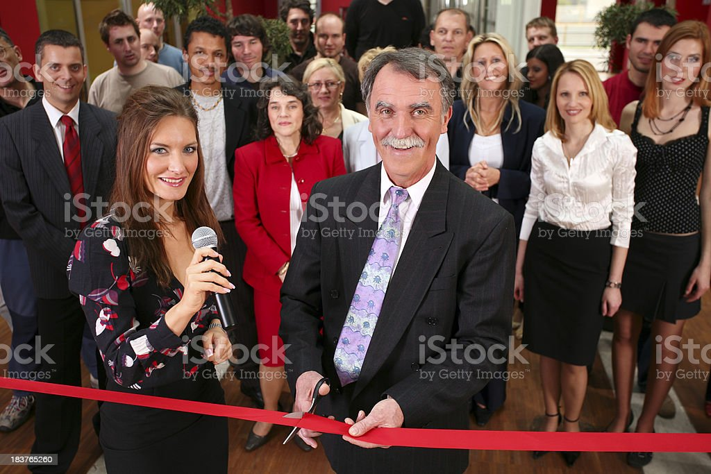 Opening ceremony with ribbon cutting. stock photo