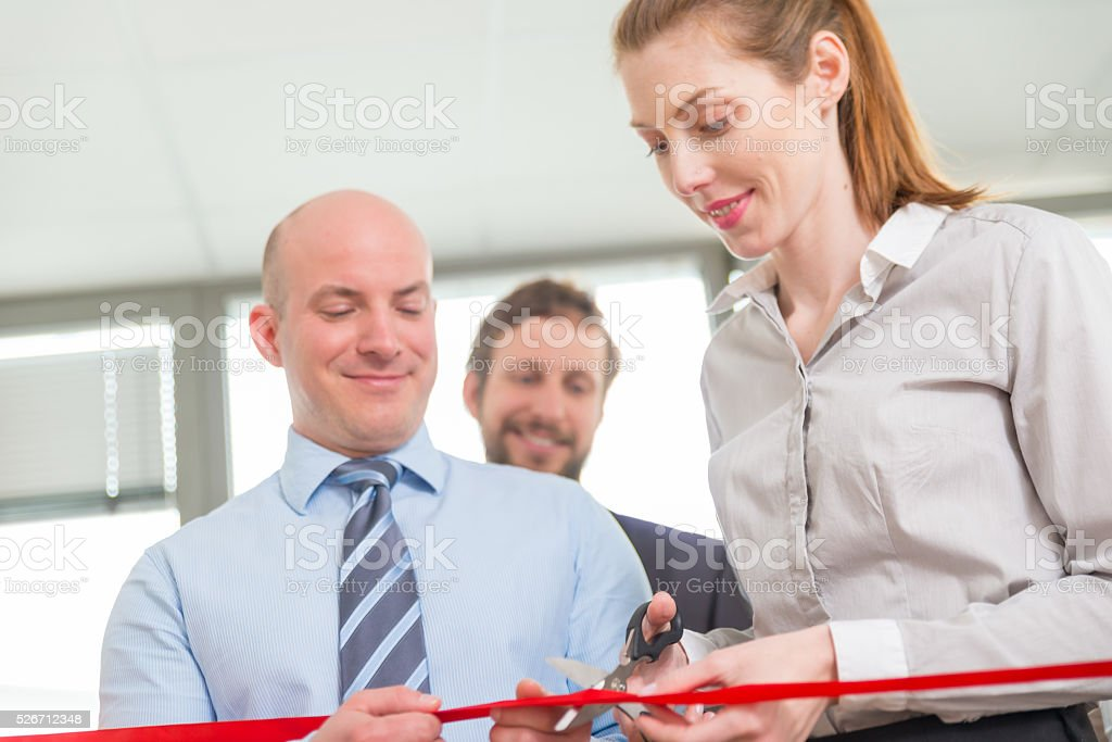 Opening ceremony with ribbon cutting stock photo
