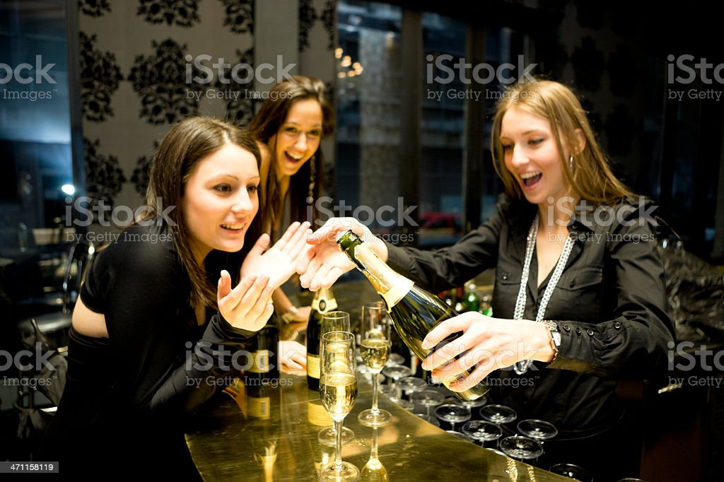 Opening champagne bottle royalty-free stock photo