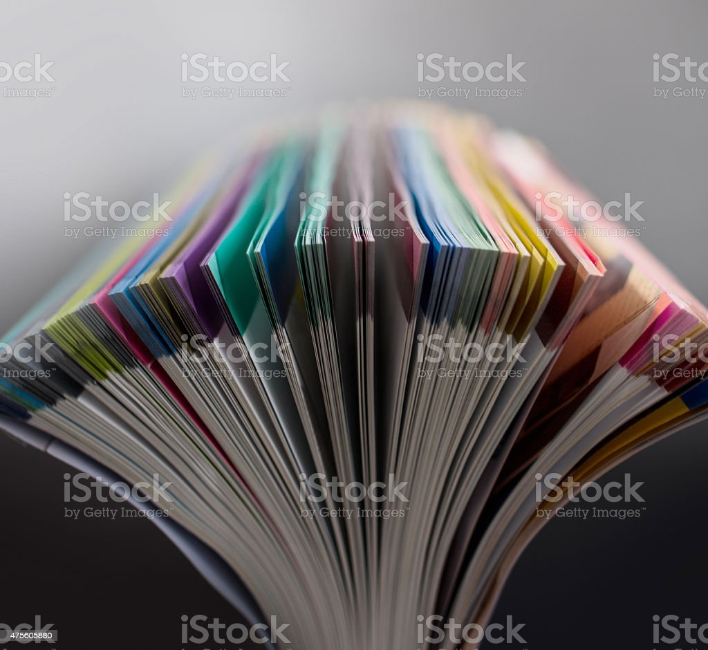 Opening colorful pages stock photo