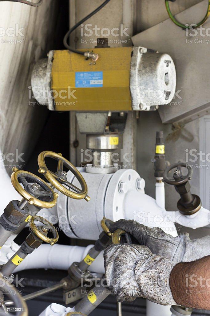 Opening cryogenic valve royalty-free stock photo