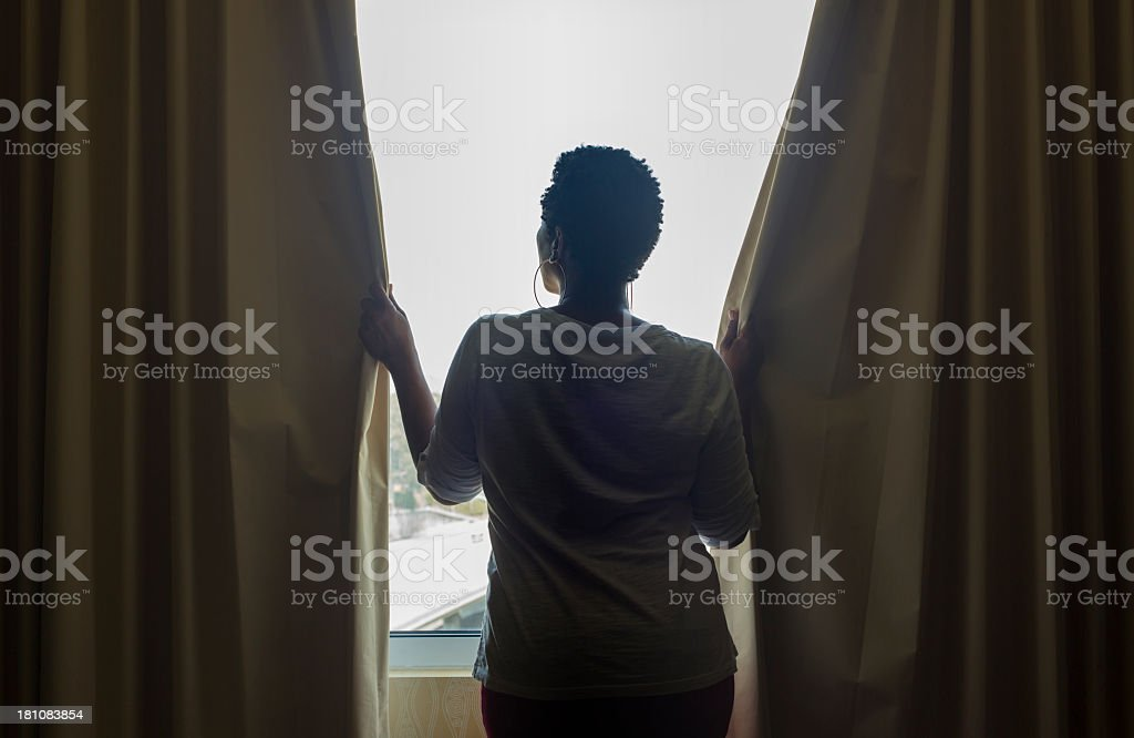 Opening Curtains stock photo