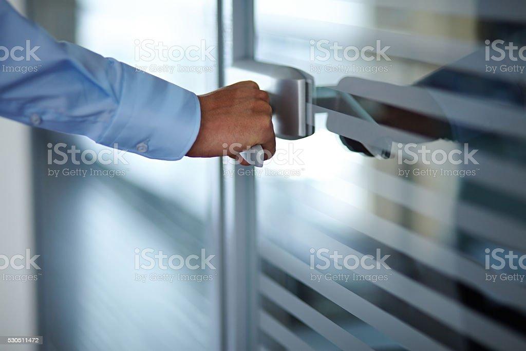 Opening door stock photo