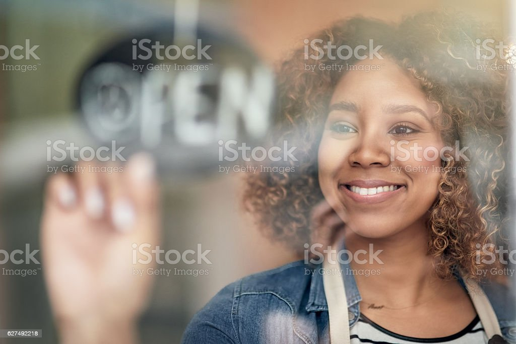 Opening for the day stock photo