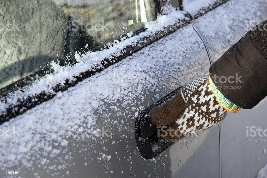 opening frozen car door royalty-free stock photo