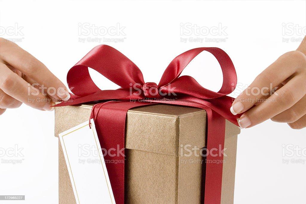 Opening gift box stock photo