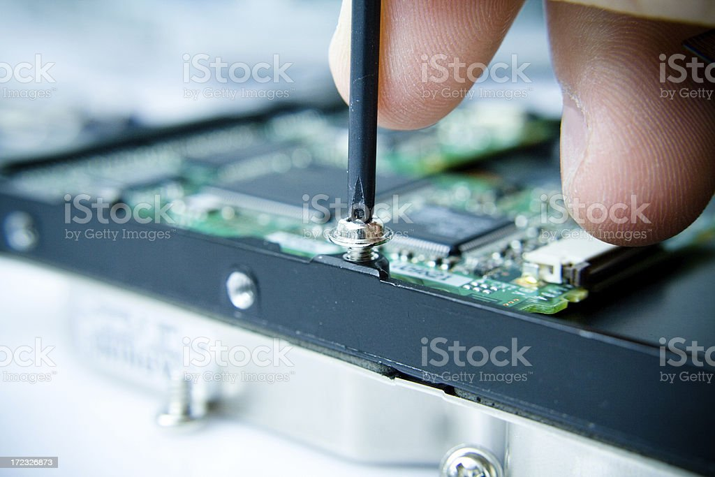 Opening hard disk royalty-free stock photo