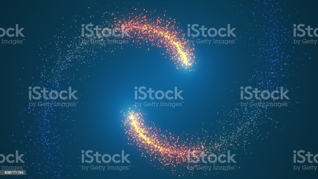 Opening intro Flash light, Lens flare, rotation Particles stock photo