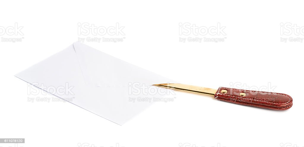 Opening letter with a special knife stock photo