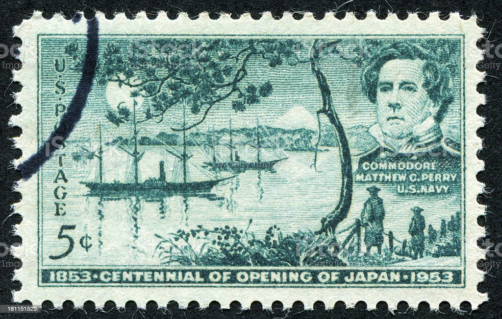 Opening Of Japan Stamp royalty-free stock photo