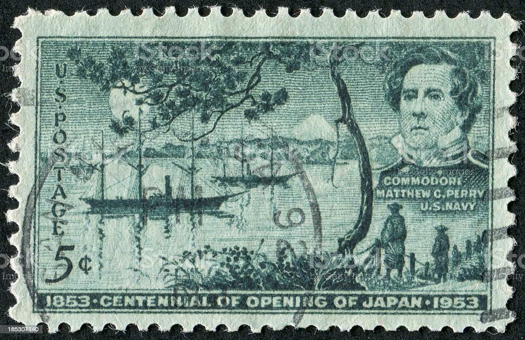 Opening Of Japan Stamp stock photo