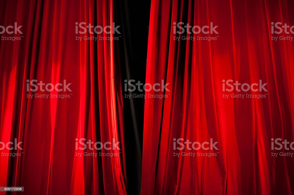 Opening of Red Stage Curtain stock photo