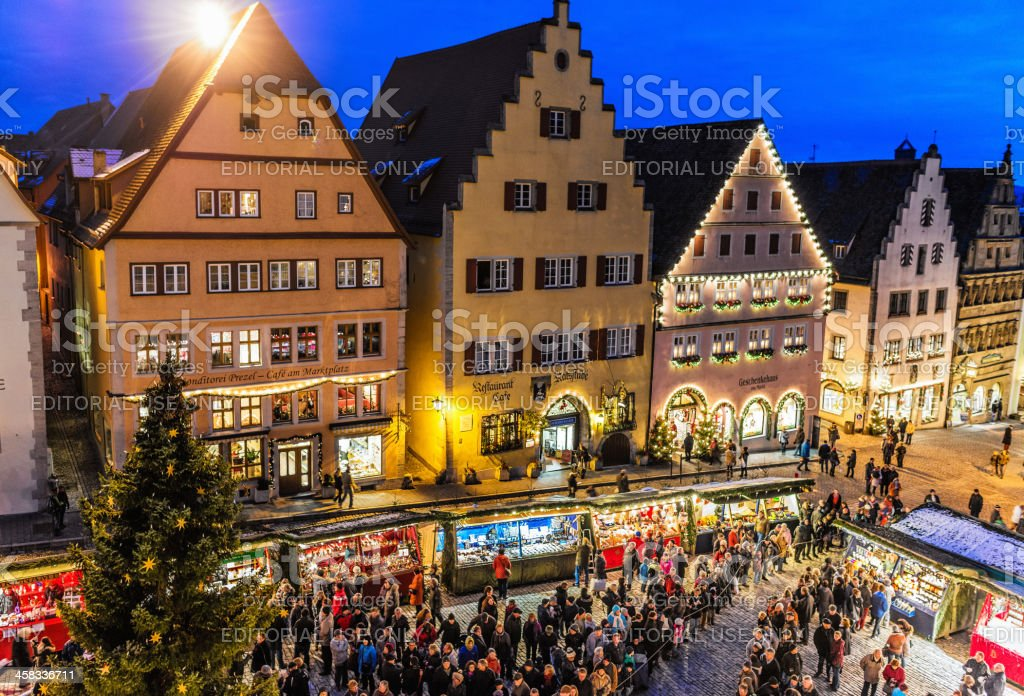 Opening of the Christmas Market (Reiterlesmarkt) in Rothenburg stock photo