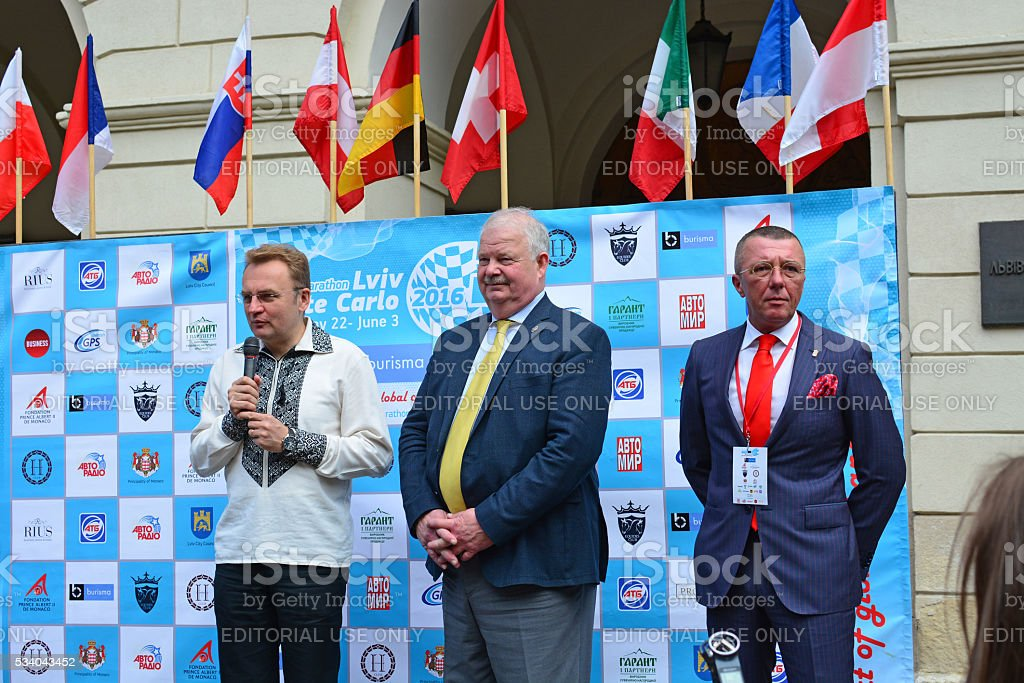 Opening of the Electric Marathon 2016 Lviv - Monte Carlo. stock photo