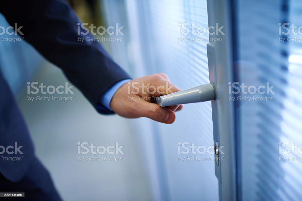 Opening office door stock photo