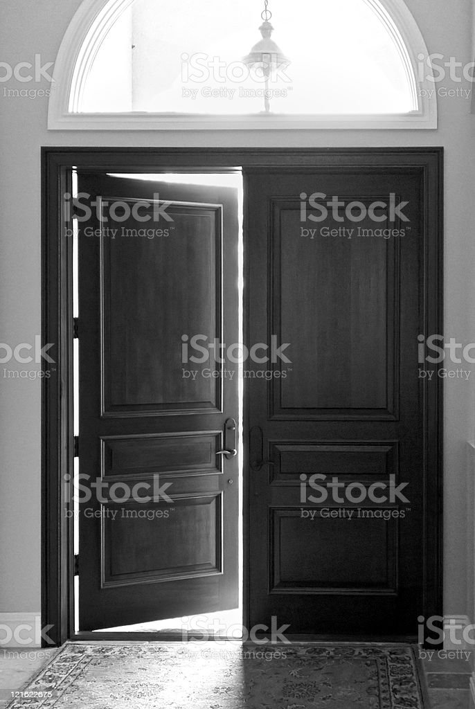 opening or closing door stock photo