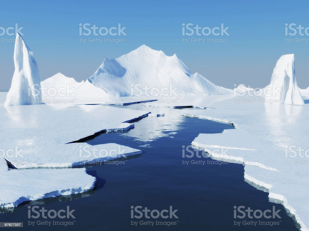 Opening passage in pack ice stock photo