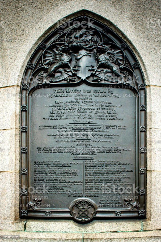 Opening plaque on Tower Bridge stock photo