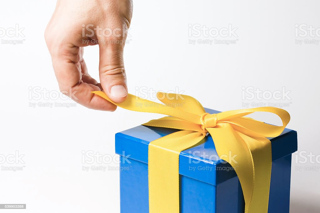 opening present - with clipping path stock photo
