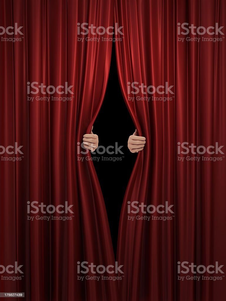 opening red stage curtain stock photo